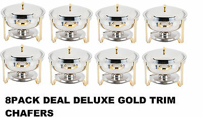 8 PACK Stainless Round Chafer Chafing Dish GOLD TRIM Banquet Buffet Food Warmer
