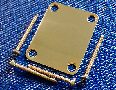NICE Gold Aged Fender Blank NECK PLATE w/ SCREWS for Strat / Tele Relic Guitar!