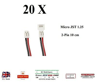 20 Pairs Micro JST 1.25mm 2-Pin 100mm Male&Female Connector Plug Prewired Cables