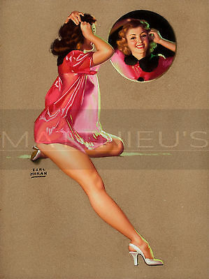 Earl Moran-Her Reflection, Canvas/Paper Print, Pinup Girl