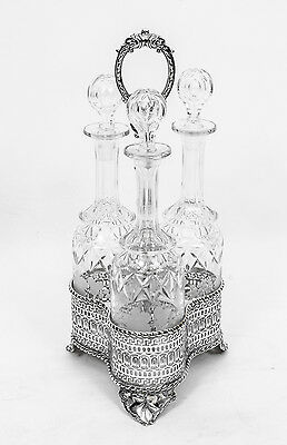 Antique Victorian Silver Plate Decanter Stand Tantalus C1860