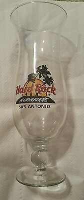 "Hard Rock Cafe Stem Drinking Glass Hurricane San Antonio Large 9.25"" Tall"