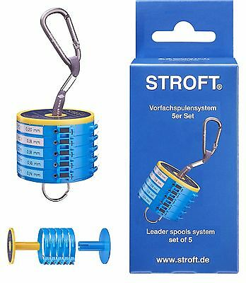 STROFT Vorfachspulensystem 5er Set Vorfachdispenser Vorfach Leader Spool System