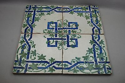 """4 Antique Italy Napoli Blue Green Ivy Vines Thick Ceramic Tiles 7-3/4"""""""