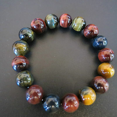 12mm High  Quality Red Blue Yellow  3 Color Tiger Eye Healing Stone Bracelet