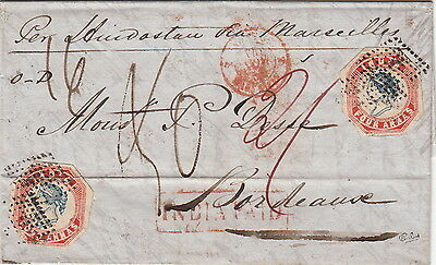 India JC TYPE 1, 1855 (Oct 8) Calcutta to France with four 1854 4a Blue&Red RARE