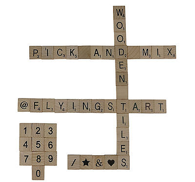 Wooden Scrabble Tiles Letters Numbers or Symbols Pick and Mix from 1 - 1000 UK