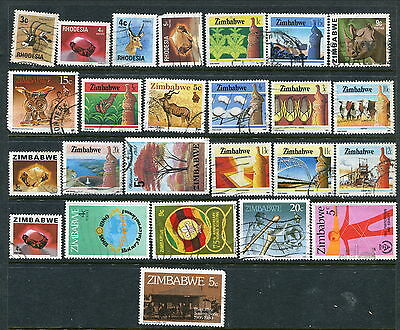25 Different Used Rhodesia/Zimbabwe Stamps (Lot #d4)