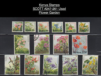 Kenya Stamps Collection SCOTT #247-261 Used Flower Garden