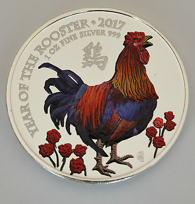 2017 UK 1oz .999 Lunar Year of the Rooster Silver Coloured Coin