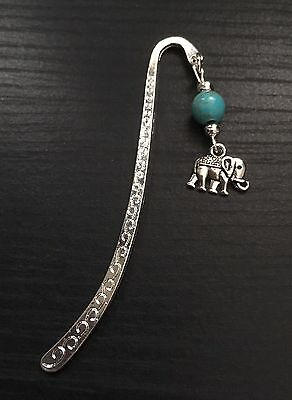 Silver Tone Cute Elephant Metal Bookmark With Turquoise Bead , Great Gift