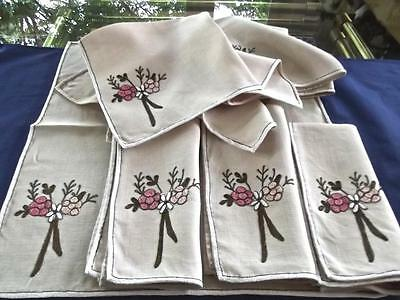 "10 Palmer-Smith Art-Craft Linen 17"" Napkins Hand Embroidered Pink White Gold EC"