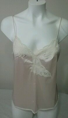Vintage Early 60's Vanity Fair Peach Camisole Size 36 Ivory Lace Nylon AntronIII