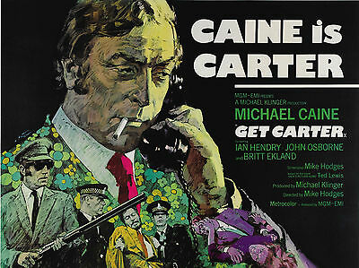 """Get Carter 1971 16"""" x 12"""" Reproduction Movie Poster Photograph"""