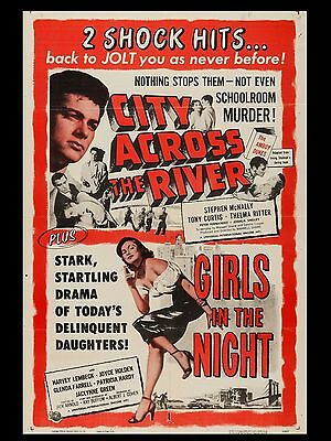 """City Across River / Girls of the Night 16"""" x 12"""" Repro Movie Poster Photo"""