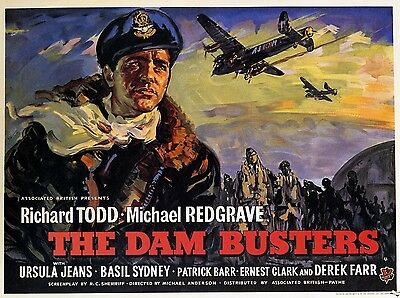 """The Dambusters 1955 16"""" x 12"""" Reproduction Movie Poster Photograph 2"""