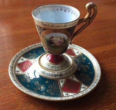Rare Unusual Austrian Porcelain Hand Painted Cabinet Display Cup & Stand