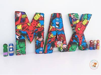 Superhero Letters In Fabric, Decorative Wall Art, Personalised, Padded, Children