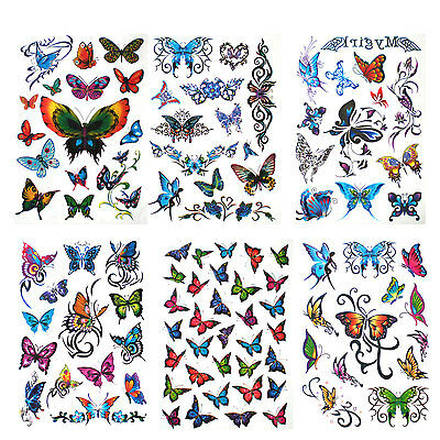 6 Sheets Girls Ladies Colorful Butterfuly Temporary Tattoo Tattoos
