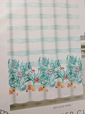 Coastal Collection Fabric Fish Coral Reef Shower Curtain Watercolor Tropical