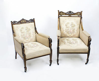 Antique Edwardian Rosewood Inlaid Lady's & Gents Armchairs