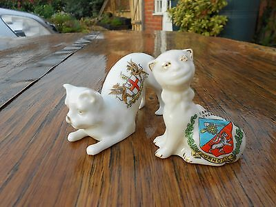 2 Crested China Cats - Dornock and City of London - Arcadian China