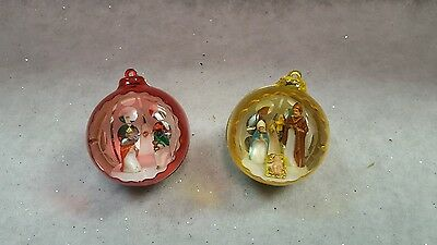 Vintage Diorama Christmas Tree Ornaments Plastic Mary Joseph Red Gold Italy