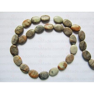 Natural Picasso Jasper Oval Beads 10x14mm