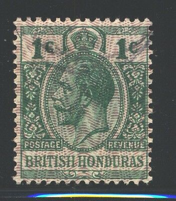 BRITISH HONDURAS Sc85a SG111a Used 1916 1c grn KGV Ovpt with Moire SCV$21