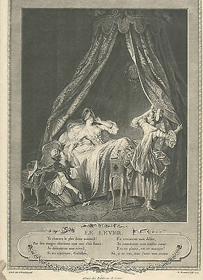 Antique Engraving Le Lever French Boudoir print by S Freudeberg -1774