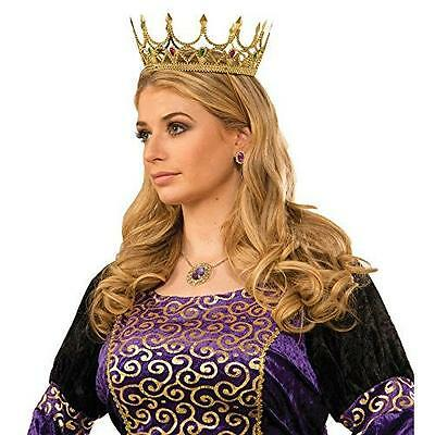Gold Medieval Royal Queen Plastic Crown Prince Costume Accessory Adult New