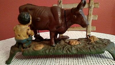 Antique cast iron milk cow bank
