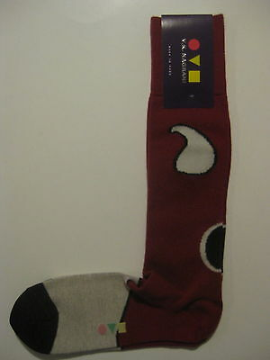 VK Nagrani Men's Luxury Socks Over The Calf One Size Fits Most Red 027