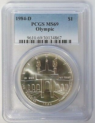 1984 D $1 Olympics Commemorative Silver Dollar PCGS MS69