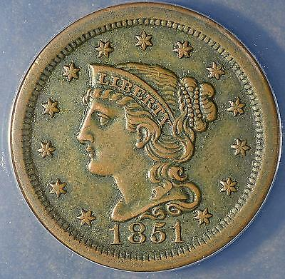 1851 EF40 Large Cent Braided Hair RARE Collectible Copper Penny Coin Ships FREE