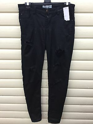 New Look Size 10 Black Skinny Ripped Jeans