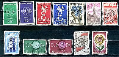 France a selection of 12 Europa stamps