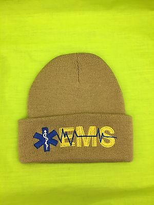 Embroidered EMS Medical Star Life Tan Khaki Knit Beanie Stocking Winter Cap Hat
