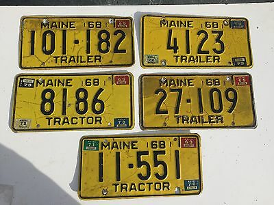 5 1968 Maine Trailer/Tractor License Plates