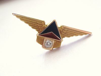 LQQK Vintage Delta Airlines 10K Yellow Gold Diamond Service Award Pin