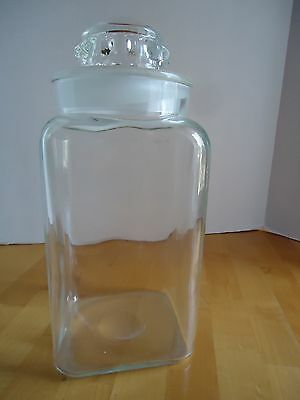 "Apothecary Jar ground lid clean clear glass 11"" tall with lid"