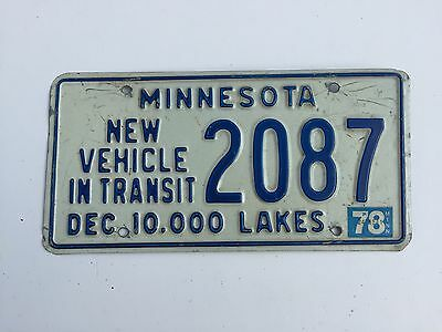 1978 Minnesota New Vehicle in Transit License Plate