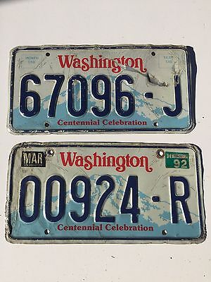 2 Washington Centennial License Plates 1992