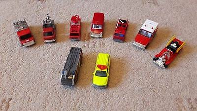 9 x  Matchbox Corgi etc Die Cast Model Red Fire Engines and Emergency Vehicles