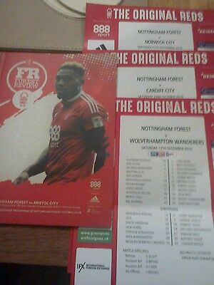 Nottingham Forest v Bristol City 2017 Programme &  3 Team Sheets.
