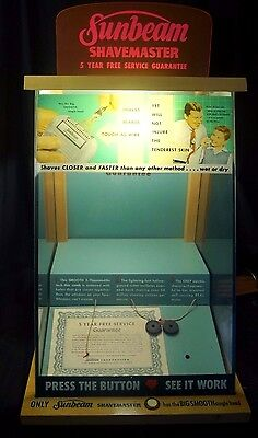 1950s Lighted Sunbeam Shavemaster Glass Advertising Counter Store Display Sign
