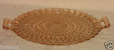 Jeannette Depression Glass Holiday Buttons/Bows Handle Sandwich Platter  Plate