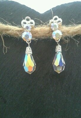 VINTAGE JEWELLERY- PAIR OF PEAR DROP GLASS CLIP ON EARRINGS,1940's