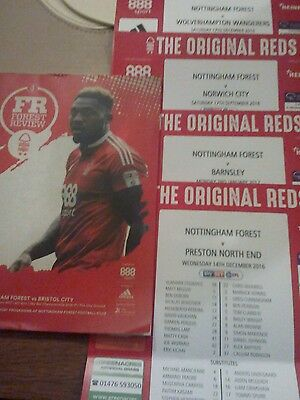 Nottingham Forest v Bristol City 2017 Programme & 4 Team Sheets.