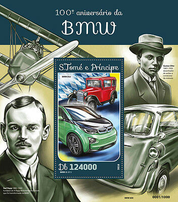 Sao Tome & Principe 2016 MNH BMW 100th Anniv 1v S/S Motorcycles Cars Stamps